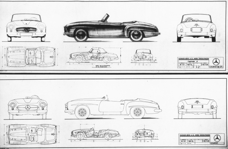 Mercedes-Benz 190 SL (W 121). Entwurfszeichnung vom 7. August 1954 von Walter Häcker, Chef-Karosseriekonstrukteur, zum Serienfahrzeug, das 1955 auf den Markt kam.