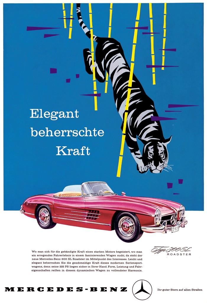 Mercedes-Benz 300 SL Roadster (W 198 II, 1957 bis 1963). Werbeanzeige von 1957.