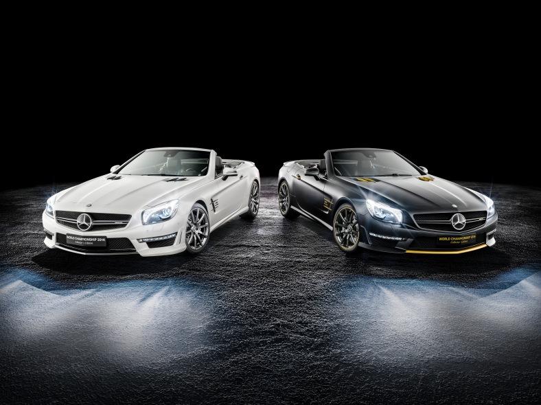 Mercedes-AMG SL 63 World Championship 2014 Collector's Edition, Lewis Hamilton Black Model. Mercedes-AMG SL 63 World Championship 2014 Collector's Edition, Nico Rosberg White Model.