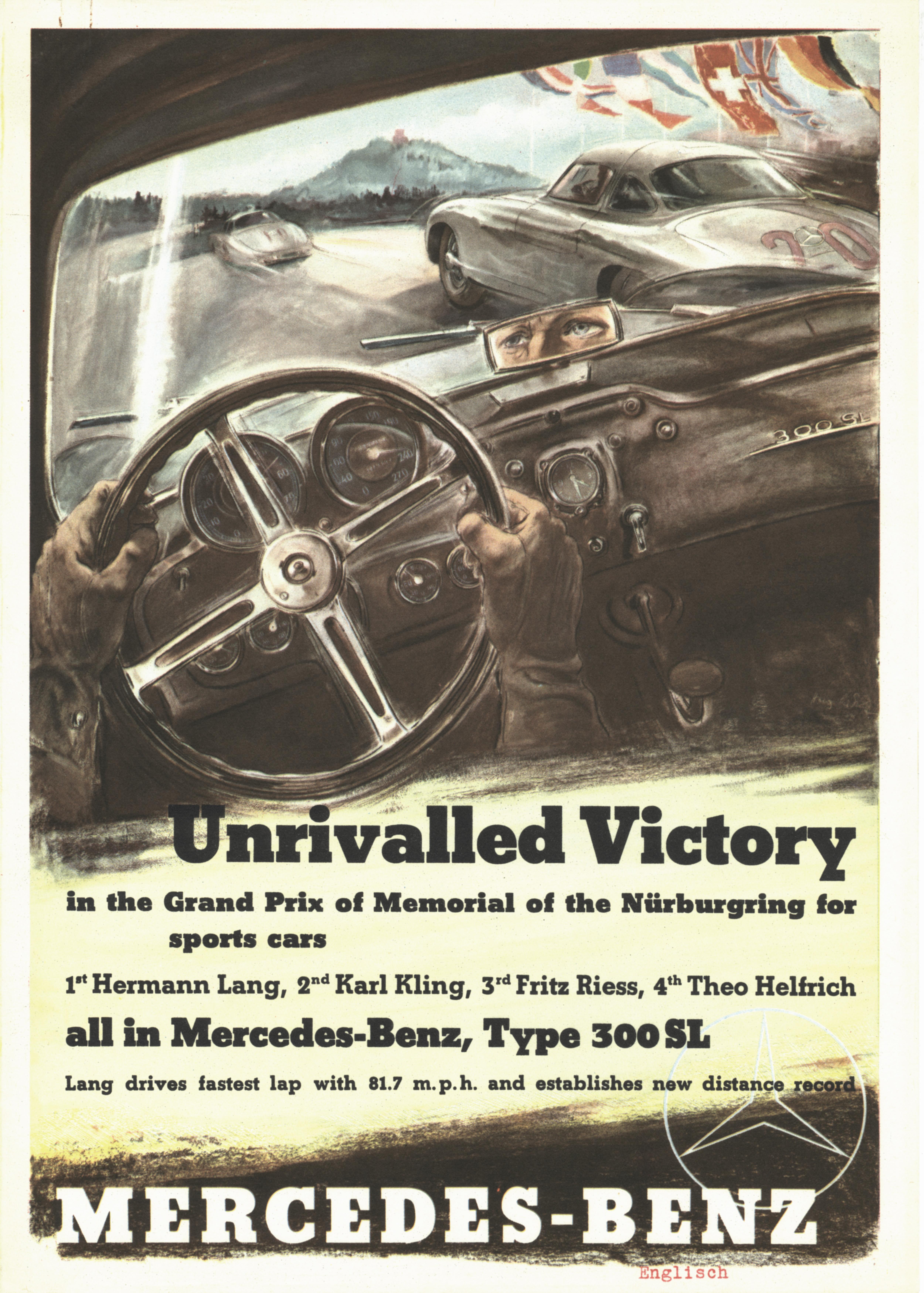 Großer Jubiläumspreis vom Nürburgring für Sportwagen, 3. August 1952. Rennplakat von Hans Liska, englische Ausführung.