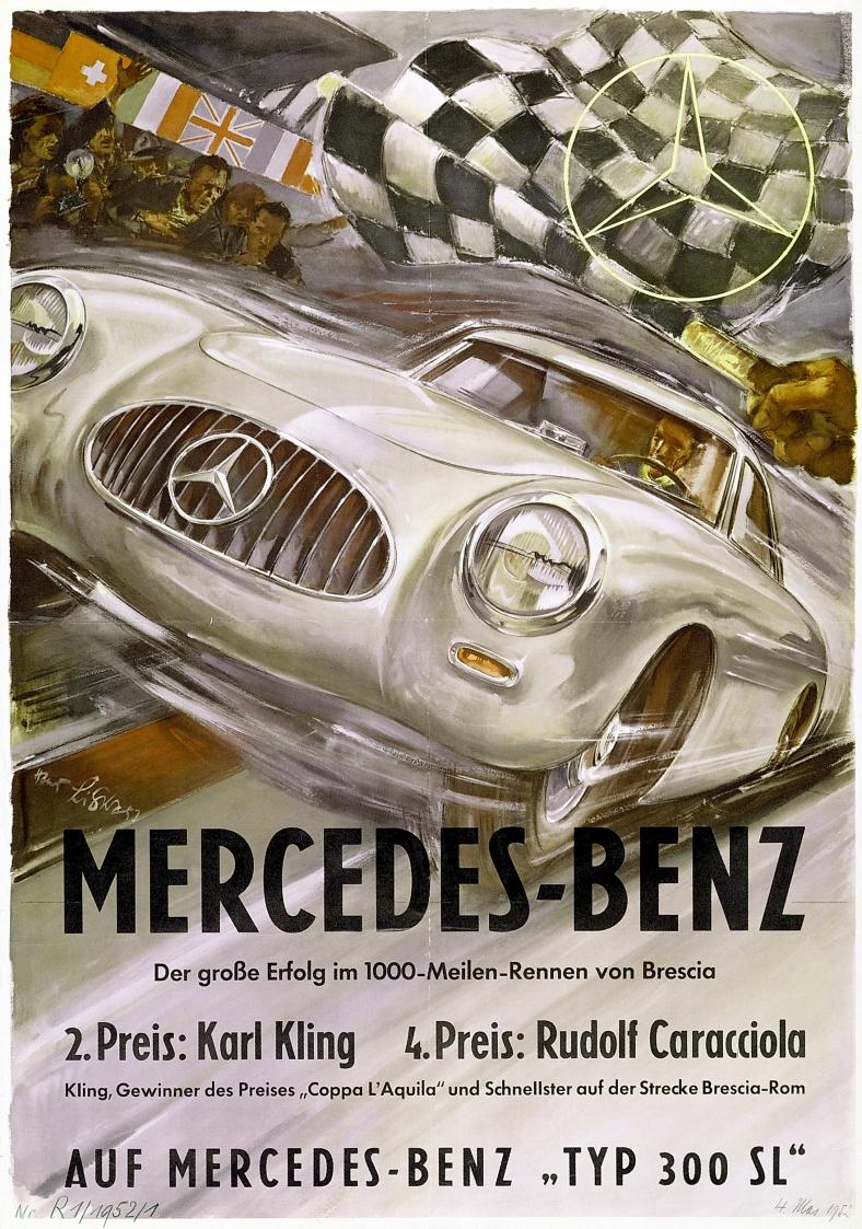 Mille Miglia, 1952. Rennsiegplakat von Hans Liska.