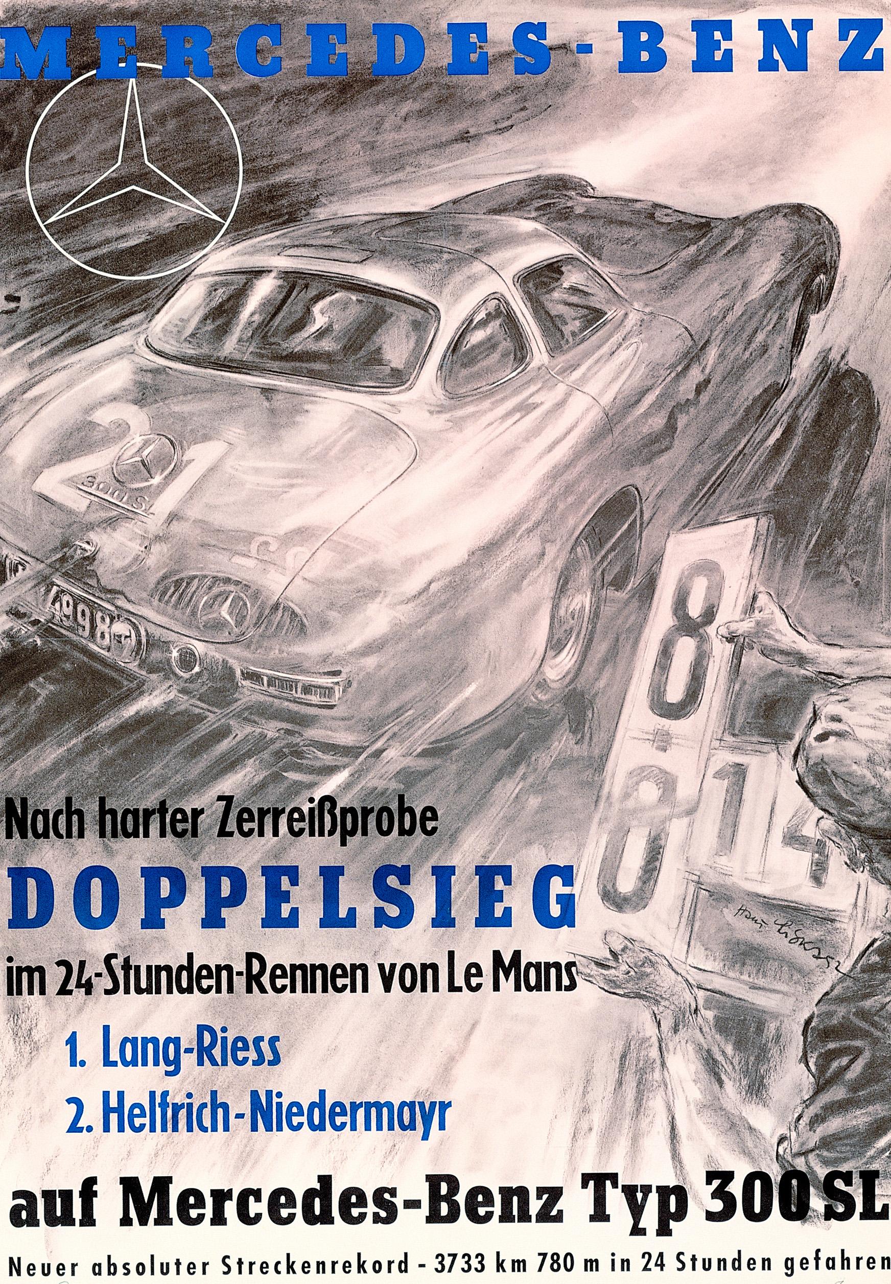 24 Stunden von Le Mans, 1952. Rennsportwagen Mercedes-Benz 300 SL (W 194). Rennplakat von Hans Liska.