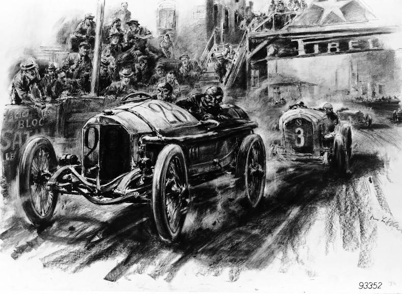 French GP near Lyon 4 July 1914 Hans Liska 1960 Mercedes Grand Prix of the eventual winner Christian Lautenschlager n.28 ahead of Léon Elskamp driving a Naga
